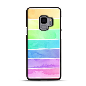 Summer Sorbet Rainbow Stripes Samsung Galaxy S9 Case, Black Rubber Case | Webluence.com