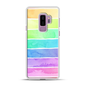 Summer Sorbet Rainbow Stripes Samsung Galaxy S9 Plus Case, White Rubber Case | Webluence.com