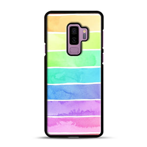 Summer Sorbet Rainbow Stripes Samsung Galaxy S9 Plus Case, Black Rubber Case | Webluence.com