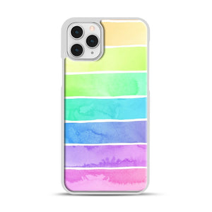 Summer Sorbet Rainbow Stripes iPhone 11 Pro Case, White Rubber Case | Webluence.com