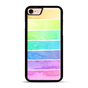 Summer Sorbet Rainbow Stripes iPhone 7/8 Case.jpg, Black Rubber Case | Webluence.com