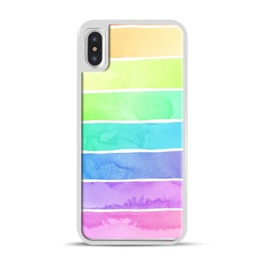 Summer Sorbet Rainbow Stripes iPhone X/XS Case, White Plastic Case | Webluence.com