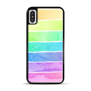 Summer Sorbet Rainbow Stripes iPhone X/XS Case, Black Rubber Case | Webluence.com