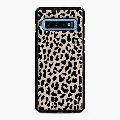 Tan Leopard Pattern Samsung Galaxy S10 Case, Black Plastic Case | Webluence.com
