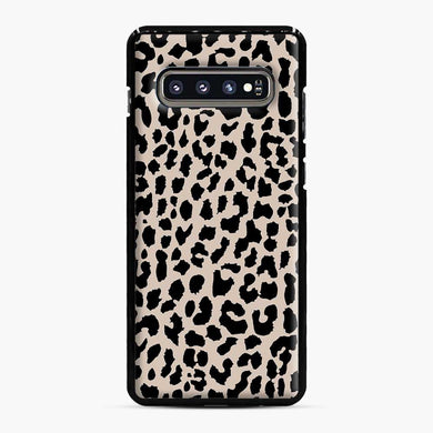 Tan Leopard Pattern Samsung Galaxy S10 Plus Case, Black Plastic Case | Webluence.com