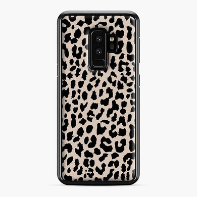Tan Leopard Pattern Samsung Galaxy S9 Plus Case, Black Plastic Case | Webluence.com
