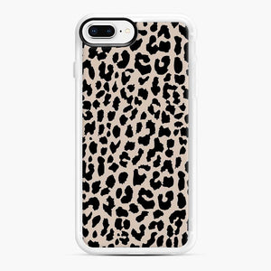 Tan Leopard Pattern iPhone 7 Plus/8 Plus Case, White Rubber Case | Webluence.com