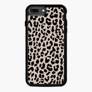 Tan Leopard Pattern iPhone 7 Plus/8 Plus Case, Black Rubber Case | Webluence.com