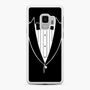 Tie Tuxedo Wedding Prom Groom Funny Tux Samsung Galaxy S9 Case, White Rubber Case | Webluence.com