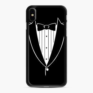 Tie Tuxedo Wedding Prom Groom Funny Tux iPhone XS Max Case, Black Rubber Case | Webluence.com