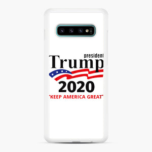 Trump Keep America Great 2020 Samsung Galaxy S10 Plus Case, White Rubber Case | Webluence.com