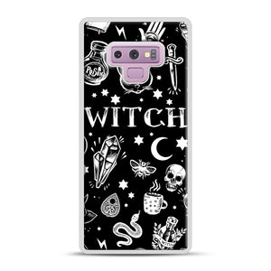 WITCH PATTERN Samsung Galaxy Note 9 Case, White Rubber Case | Webluence.com