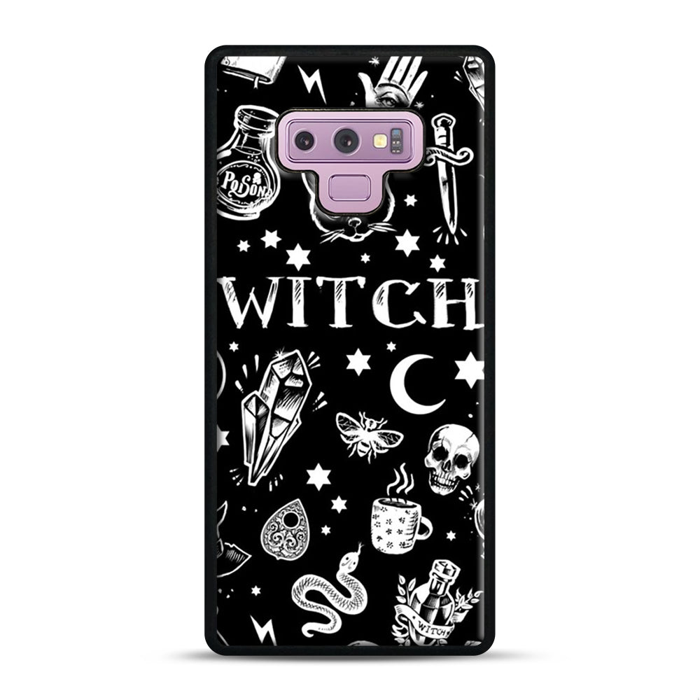 WITCH PATTERN Samsung Galaxy Note 9 Case, Black Plastic Case | Webluence.com