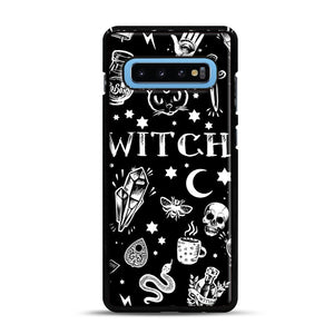 WITCH PATTERN Samsung Galaxy S10 Plus Case, Black Rubber Case | Webluence.com