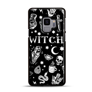 WITCH PATTERN Samsung Galaxy S9 Case, Black Rubber Case | Webluence.com