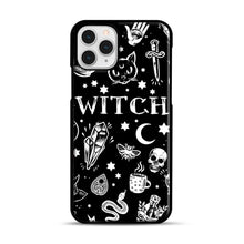 Load image into Gallery viewer, WITCH PATTERN iPhone 11 Pro Case, Black Plastic Case | Webluence.com