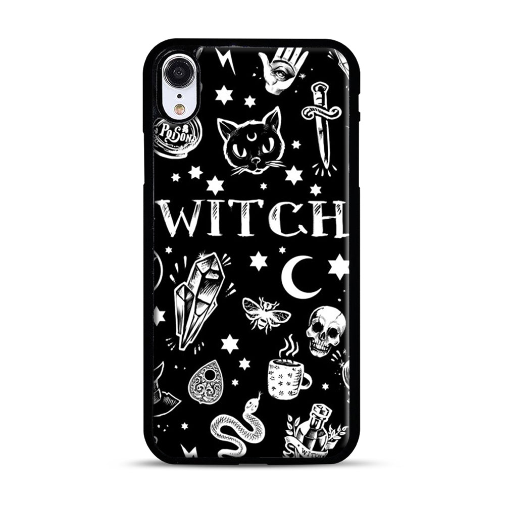 WITCH PATTERN iPhone XR Case, Black Plastic Case | Webluence.com