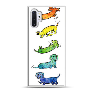 Watercolor Dachshunds Samsung Galaxy Note 10 Plus Case, White Rubber Case | Webluence.com