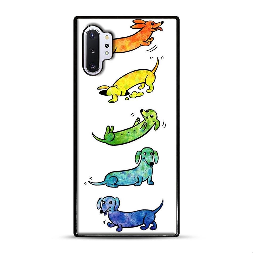 Watercolor Dachshunds Samsung Galaxy Note 10 Plus Case, Black Plastic Case | Webluence.com