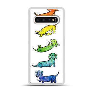 Watercolor Dachshunds Samsung Galaxy S10 Case, White Rubber Case | Webluence.com