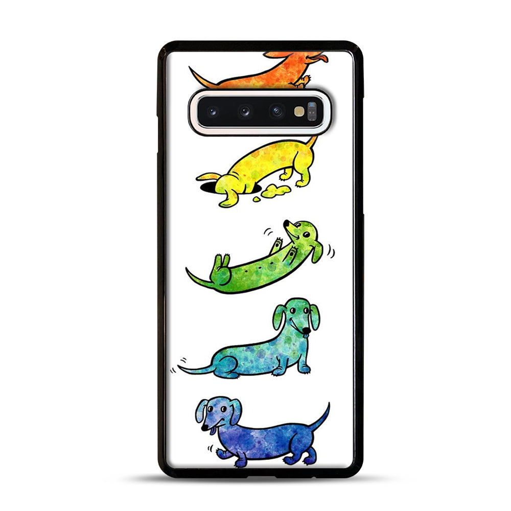 Watercolor Dachshunds Samsung Galaxy S10 Case, Black Plastic Case | Webluence.com