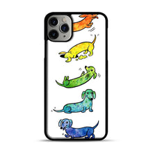 Load image into Gallery viewer, Watercolor Dachshunds iPhone 11 Pro Max Case.jpg, Black Plastic Case | Webluence.com