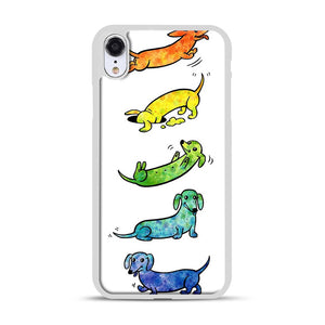 Watercolor Dachshunds iPhone XR Case, White Rubber Case | Webluence.com