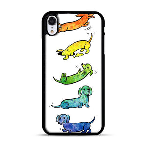 Watercolor Dachshunds iPhone XR Case, Black Plastic Case | Webluence.com