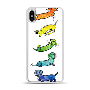 Watercolor Dachshunds iPhone XS Max Case, White Rubber Case | Webluence.com