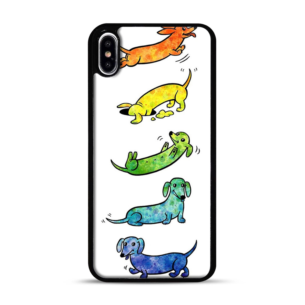 Watercolor Dachshunds iPhone XS Max Case, Black Plastic Case | Webluence.com