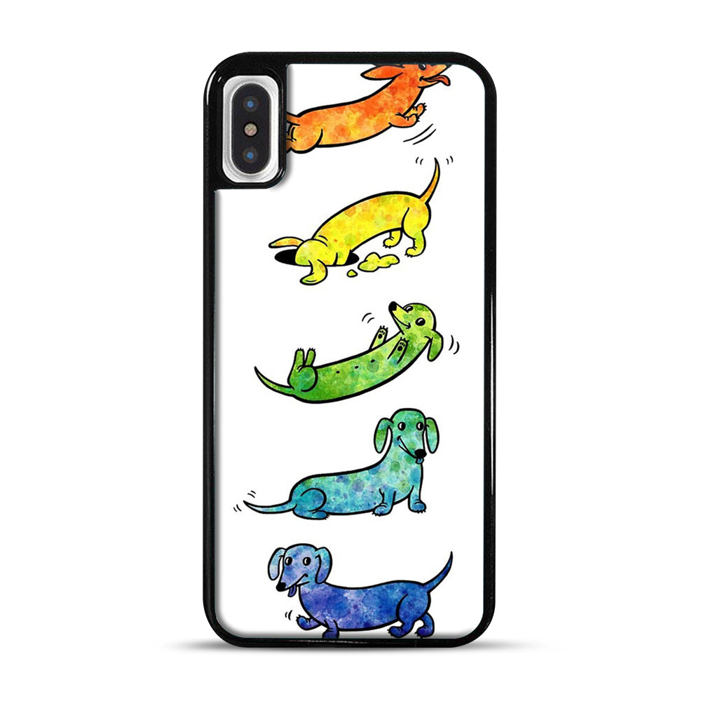 Watercolor Dachshunds iPhone X/XS Case, Black Plastic Case | Webluence.com