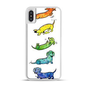 Watercolor Dachshunds iPhone X/XS Case, White Rubber Case | Webluence.com