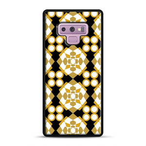 White Gold Pattern Samsung Galaxy Note 9 Case, Black Rubber Case | Webluence.com