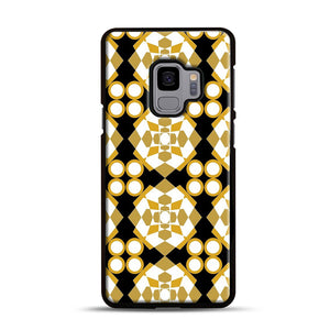 White Gold Pattern Samsung Galaxy S9 Case, Black Rubber Case | Webluence.com