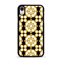 Load image into Gallery viewer, White Gold Pattern iPhone XR Case, Black Plastic Case | Webluence.com