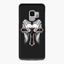 Load image into Gallery viewer, affliction cross and skulls Samsung Galaxy S9 Case, Black Rubber Case | Webluence.com