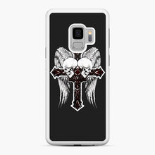 Load image into Gallery viewer, affliction cross and skulls Samsung Galaxy S9 Case, White Rubber Case | Webluence.com