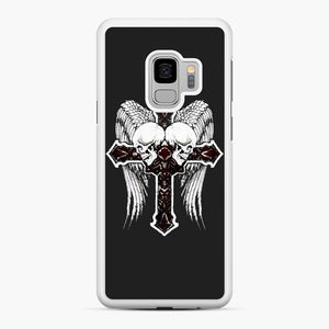 affliction cross and skulls Samsung Galaxy S9 Case, White Rubber Case | Webluence.com