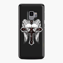 Load image into Gallery viewer, affliction cross and skulls Samsung Galaxy S9 Case, Black Plastic Case | Webluence.com