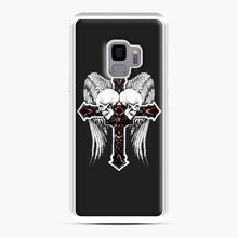 Load image into Gallery viewer, affliction cross and skulls Samsung Galaxy S9 Case, White Plastic Case | Webluence.com