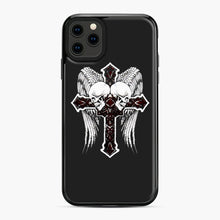 Load image into Gallery viewer, affliction cross and skulls iPhone 11 Pro Max Case, Black Plastic Case | Webluence.com