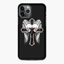 Load image into Gallery viewer, affliction cross and skulls iPhone 11 Pro Max Case, Black Rubber Case | Webluence.com