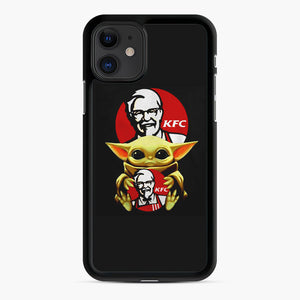 baby yoda hug kfc iPhone 11 Case, Black Rubber Case | Webluence.com
