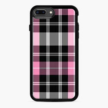 Load image into Gallery viewer, black and pink plaid iPhone 7 Plus/8 Plus Case, Black Rubber Case | Webluence.com