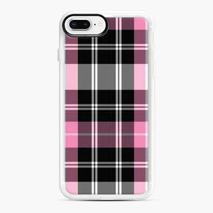 black and pink plaid iPhone 7 Plus/8 Plus Case, White Rubber Case | Webluence.com