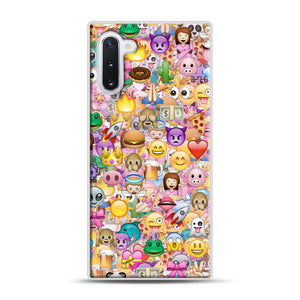 happy emoji pattern Samsung Galaxy Note 10 Case, White Plastic Case | Webluence.com
