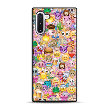 Load image into Gallery viewer, happy emoji pattern Samsung Galaxy Note 10 Case, Black Rubber Case | Webluence.com