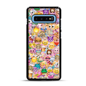 happy emoji pattern Samsung Galaxy S10 Plus Case, Black Rubber Case | Webluence.com