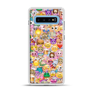 happy emoji pattern Samsung Galaxy S10 Plus Case, White Rubber Case | Webluence.com