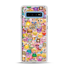Load image into Gallery viewer, happy emoji pattern Samsung Galaxy S10 Plus Case, White Plastic Case | Webluence.com